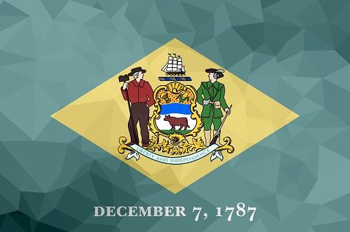 Delaware polygonal flag. Mosaic modern background. Geometric design