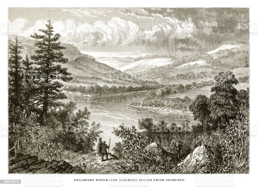 Delaware River Water Gap Looking South from Shawnee, Pennsylvania, United States, American Victorian Engraving, 1872 vector art illustration