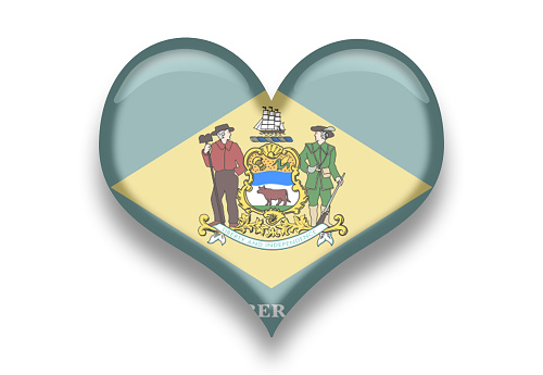 Delaware State Flag Heart Shape with Shadows