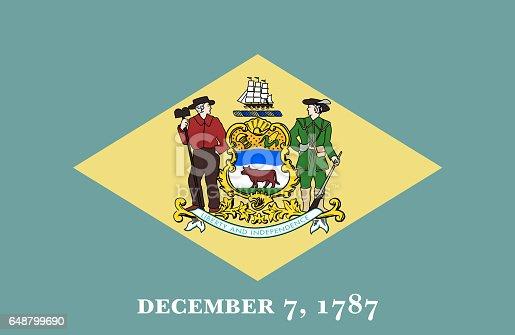 istock Delaware State flat flag 648799690