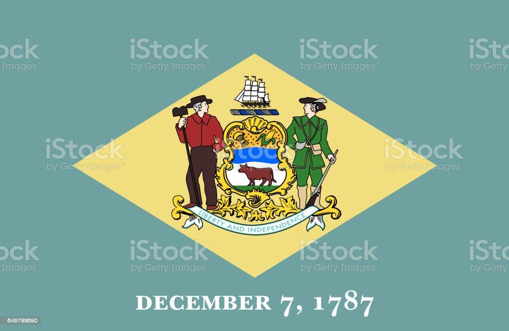 Bandeira plana do estado de Delaware - ilustração de arte em vetor