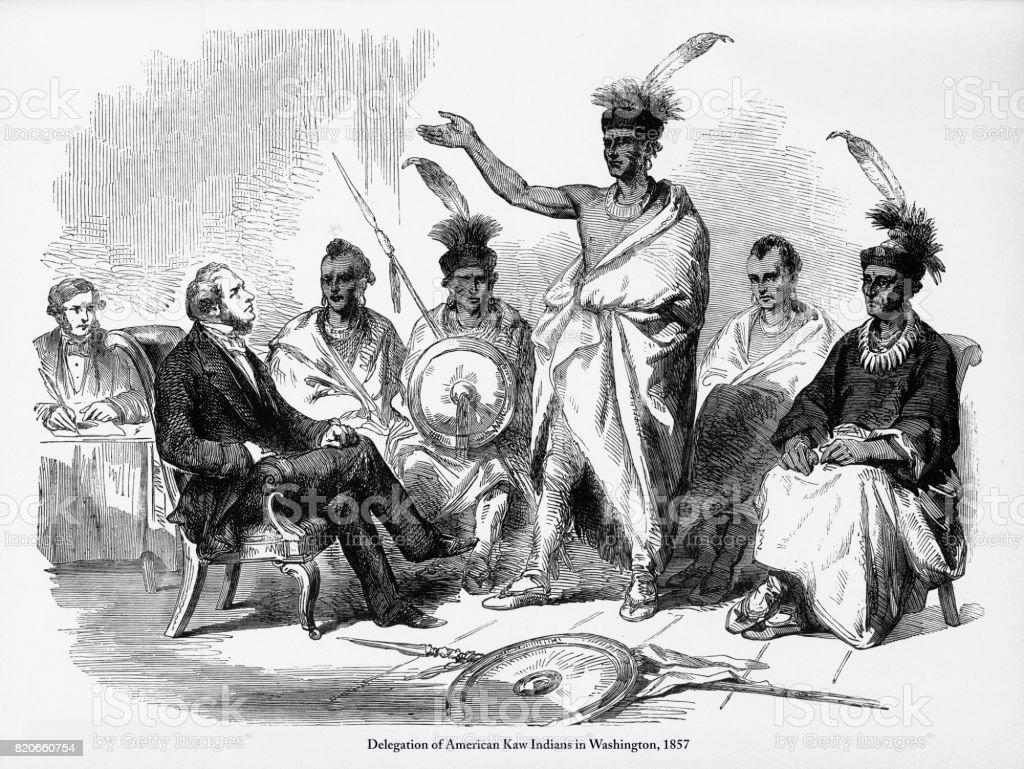 Delegation of American Kaw Indians in Washington Engraving, 1857 vector art illustration