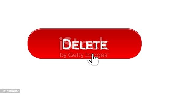 Delete web interface button clicked with mouse cursor, red color, recycling, stock footage