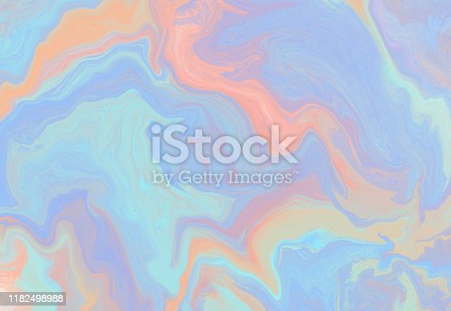 Delicate pastel blue and orange horizontal wavy marble background. Tender light vibrant colors watercolor texture for software, ui design, web, apps wallpaper, banner