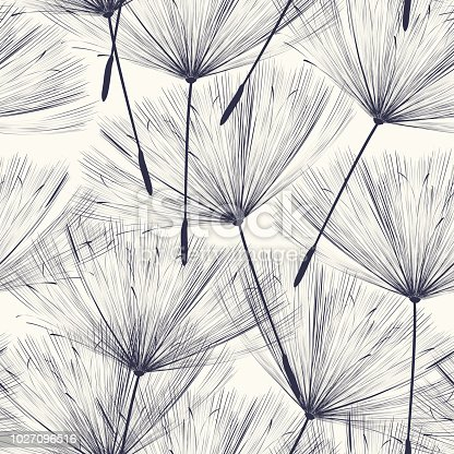 Seamless  pattern design with flying dandellion seeds