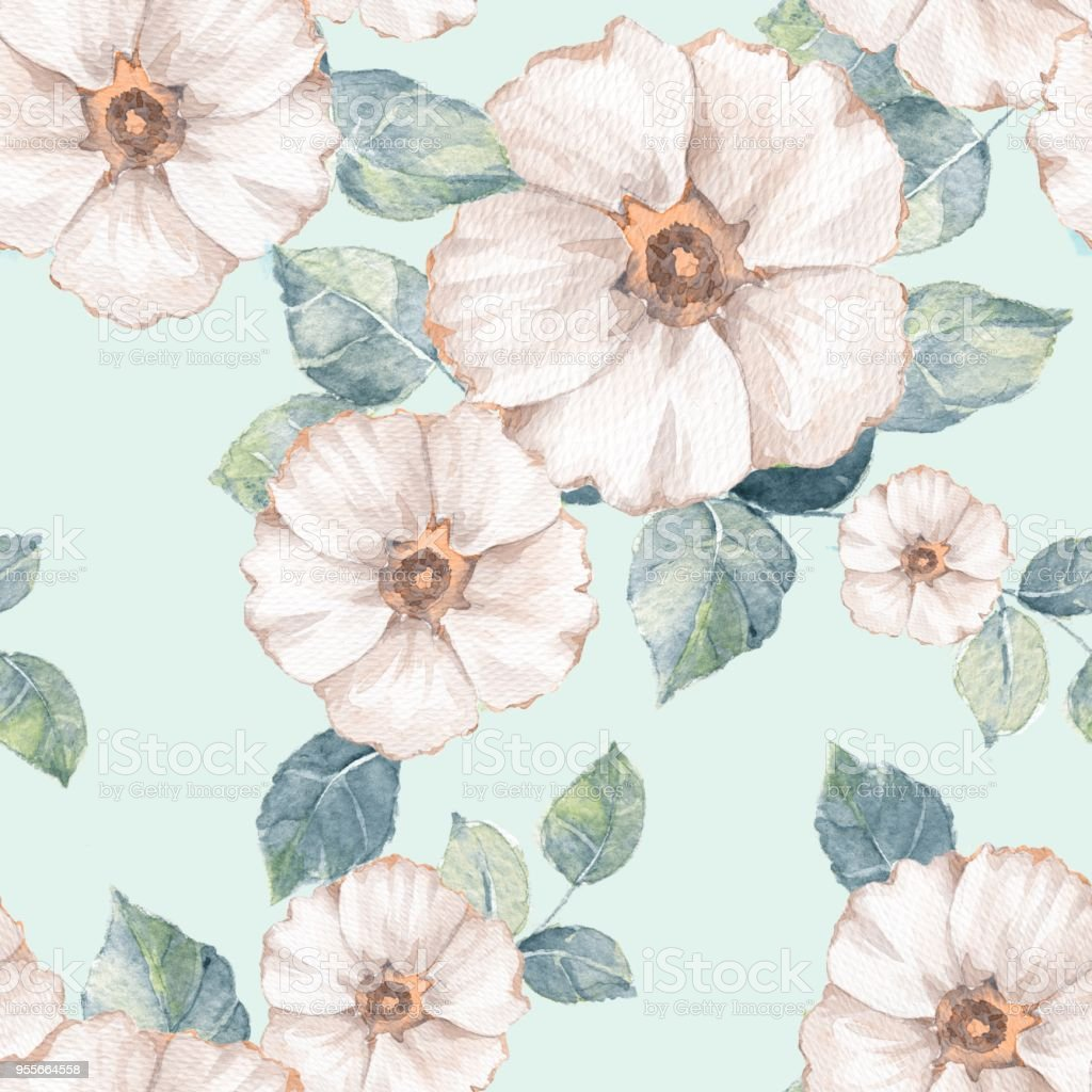 Delicate Floral Seamless Pattern With White Flowers Stock Vector Art