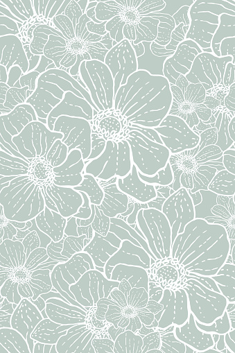 Delicate seamless flowery pattern of dotted white lines
