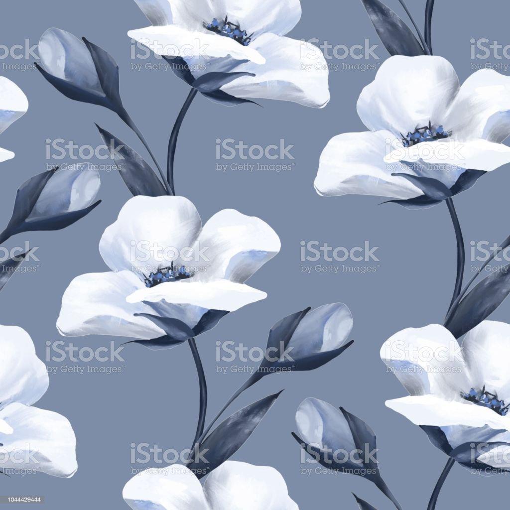 Delicate White Flowers Seamless Pattern 1 Stock Vector Art More