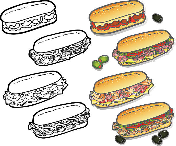 deli-sub icons - sub sandwich stock illustrations, clip art, cartoons, & icons