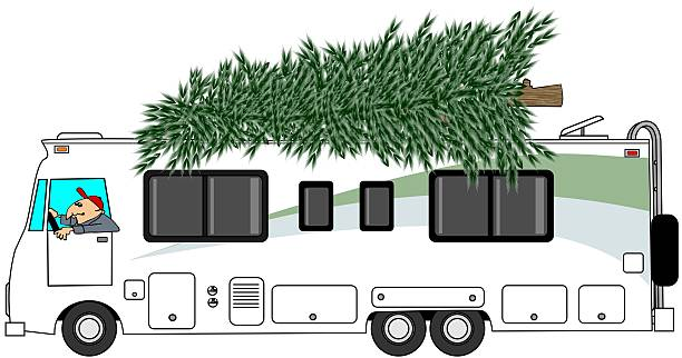 RV Delivering A Christmas Tree Vector Art Illustration