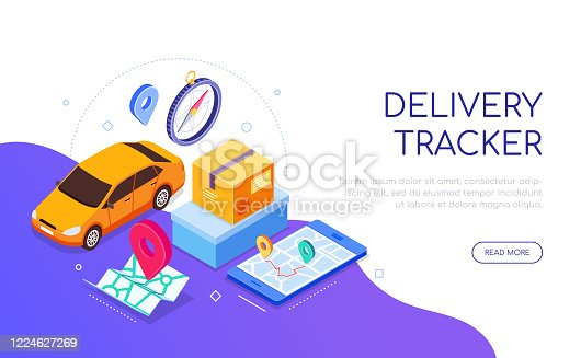 Delivery tracker service - modern colorful isometric web banner with copy space for text. An illustration with a car, compass, cargo, map, navigation on smartphone screen. Mobile app for tracking
