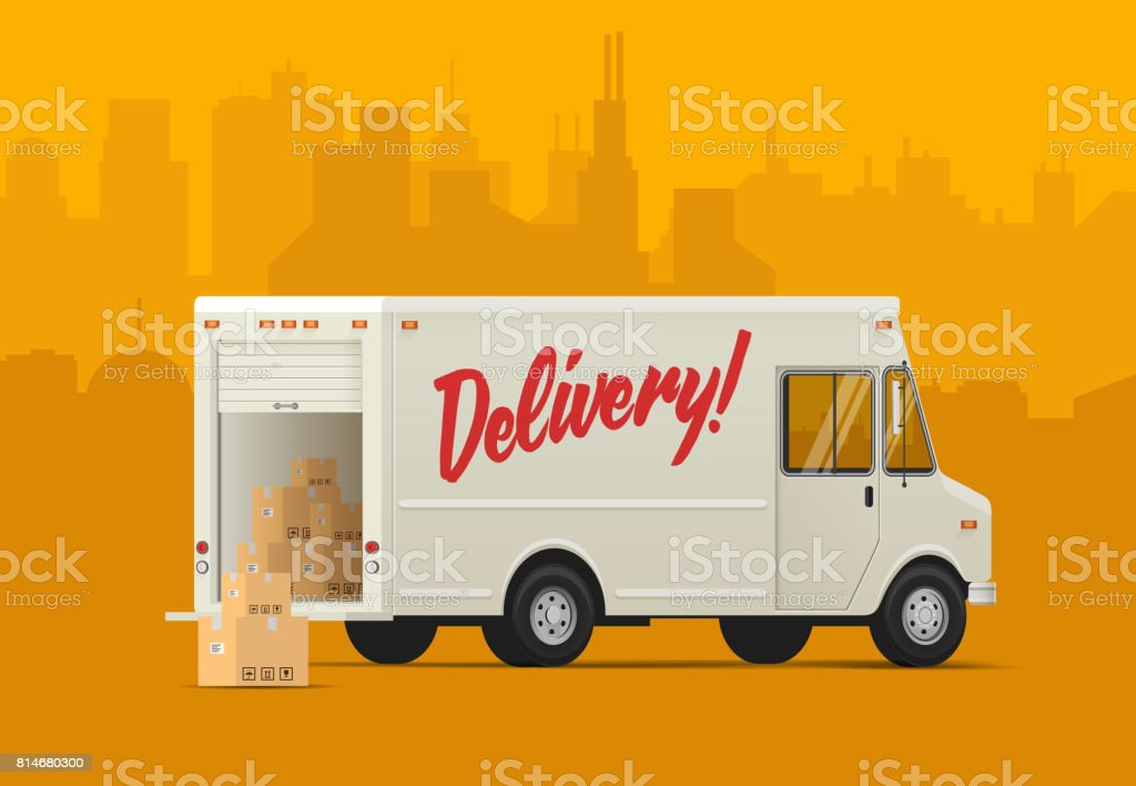 Delivery truck side back. Isometric styled vector illustration. vector art illustration