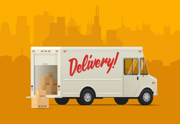 delivery truck side back. isometric styled vector illustration. - delivery van stock illustrations, clip art, cartoons, & icons