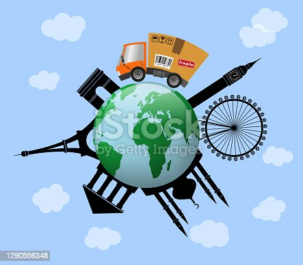 istock Delivery truck with cardboard box 1290556348