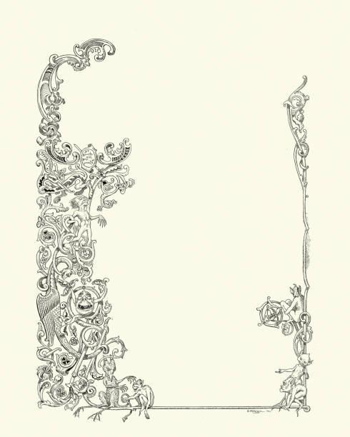 Deman, devil, monster, imp, scroll border vector art illustration