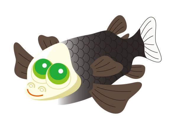 デメニギス Barreleye 深海魚 キャラクター イラスト ベクターアートイラスト