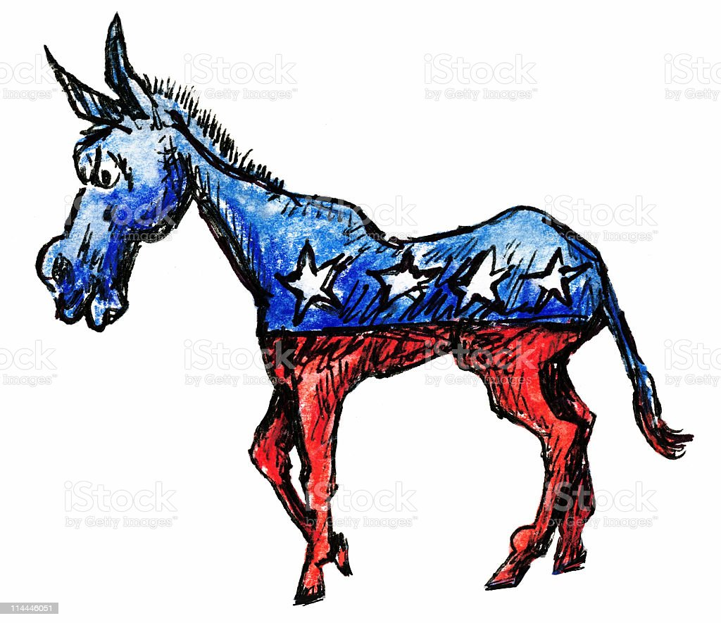 Democratic Donkey With Red Bottom Blue Top and Three Stars royalty-free stock vector art