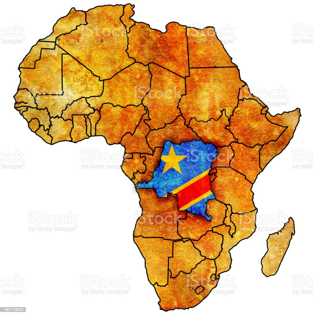 Democratic Republic Of Congo Territory On Political Map Of Africa
