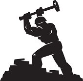 simple graphic of a man using a sledgehammer