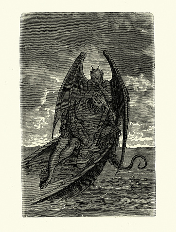 Demon devil haunting a man marooned at sea on sinking boat