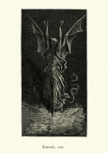 Demon fallen angel emerging from the darkness