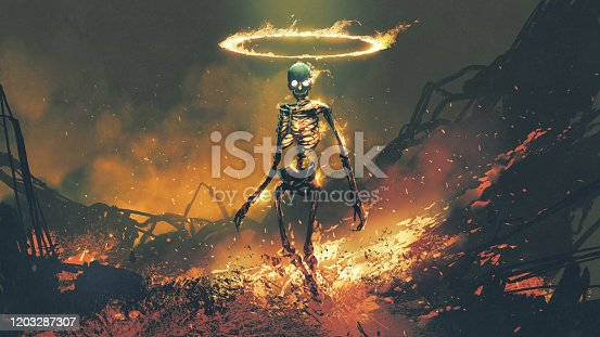 istock demon skeleton with fire flames in hellfire 1203287307