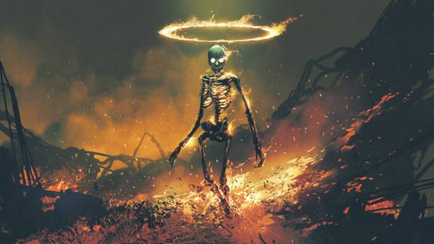 demon skeleton with fire flames in hellfire vector art illustration