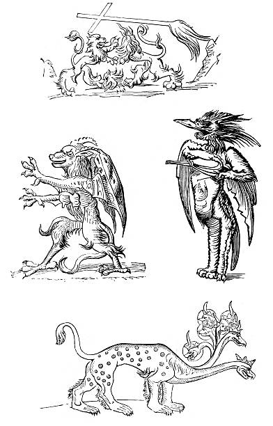 Demons and Monsters Medieval Demons and Monsters, 16th Century rymdraket stock illustrations