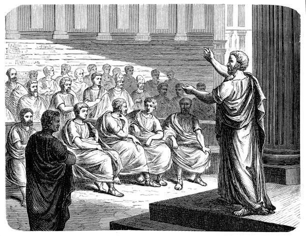 Demosthenes (384 BC-322 BC) Illustration of  a Demosthenes (384 BC-322 BC) ancient greece stock illustrations
