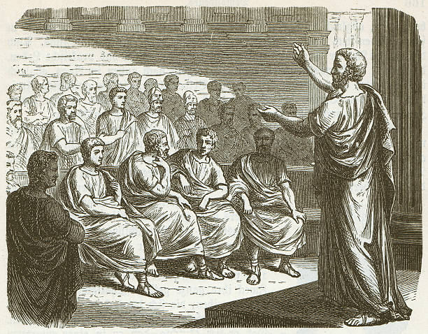 "Demosthenes (384 BC-322 BC), wood engraving, published in 1882 Demosthenes delivering a condemning speech against Philipp of Macedonia. Demosthenes (384 BC - 322 BC) was the greatest Greek orator. After the ""Peace of Philokrates"" (346 BC), he rose to become the leading statesman of Athens. Philip II (ca. 382 BC - 336 BC) was the King of Macedonia from 359 to 336 BC and was the father of Alexander the Great. Woodcut engraving, published in1882. ancient greece stock illustrations"