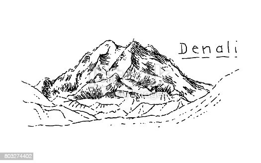Pen and ink illustration of Denali