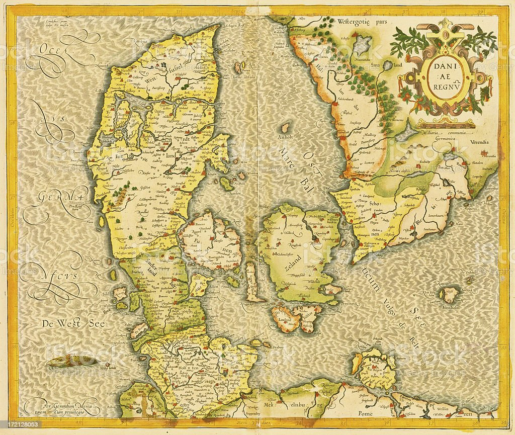 Denmark Antique Map royalty-free denmark antique map stock vector art & more images of accuracy