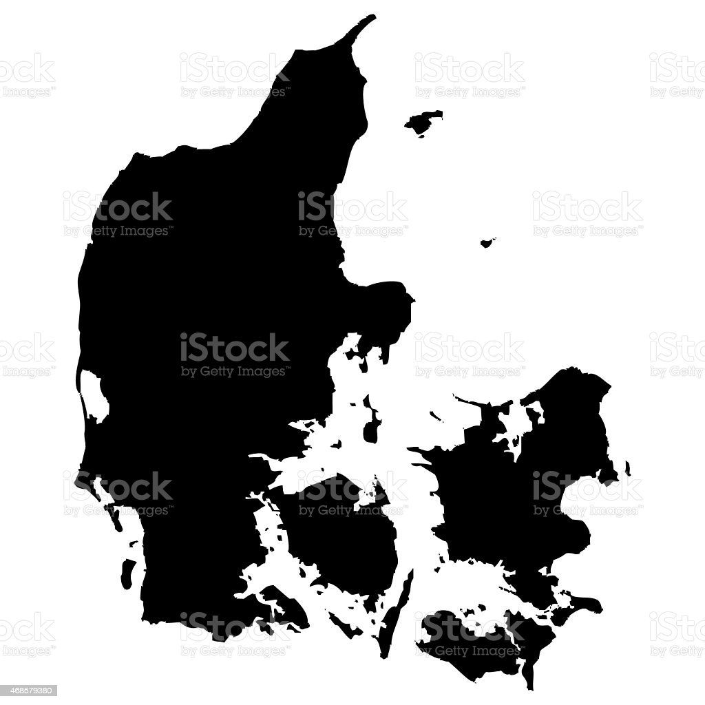 Denmark map vector art illustration