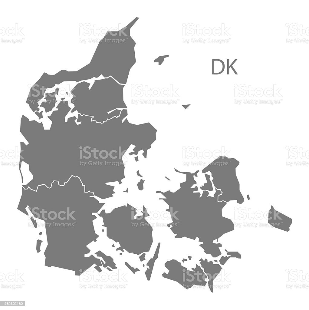 Denmark regions Map grey vector art illustration