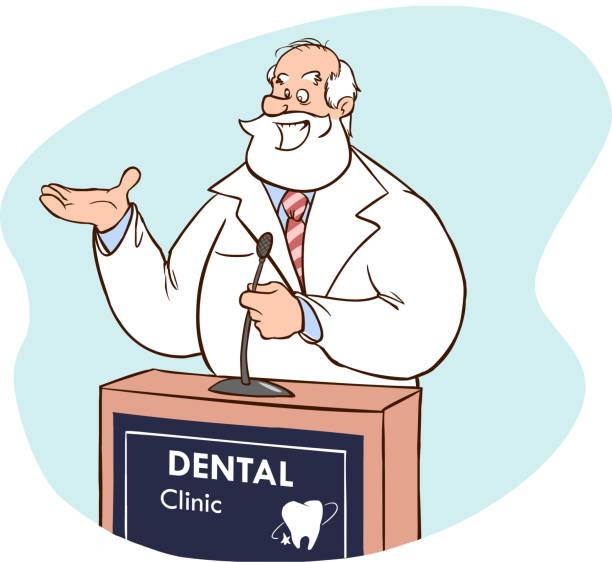 Dental health care concept vector illustration (Doctor speaking at the rostrum ) Dental health care concept vector illustration (Doctor speaking at the rostrum ) medico stock illustrations