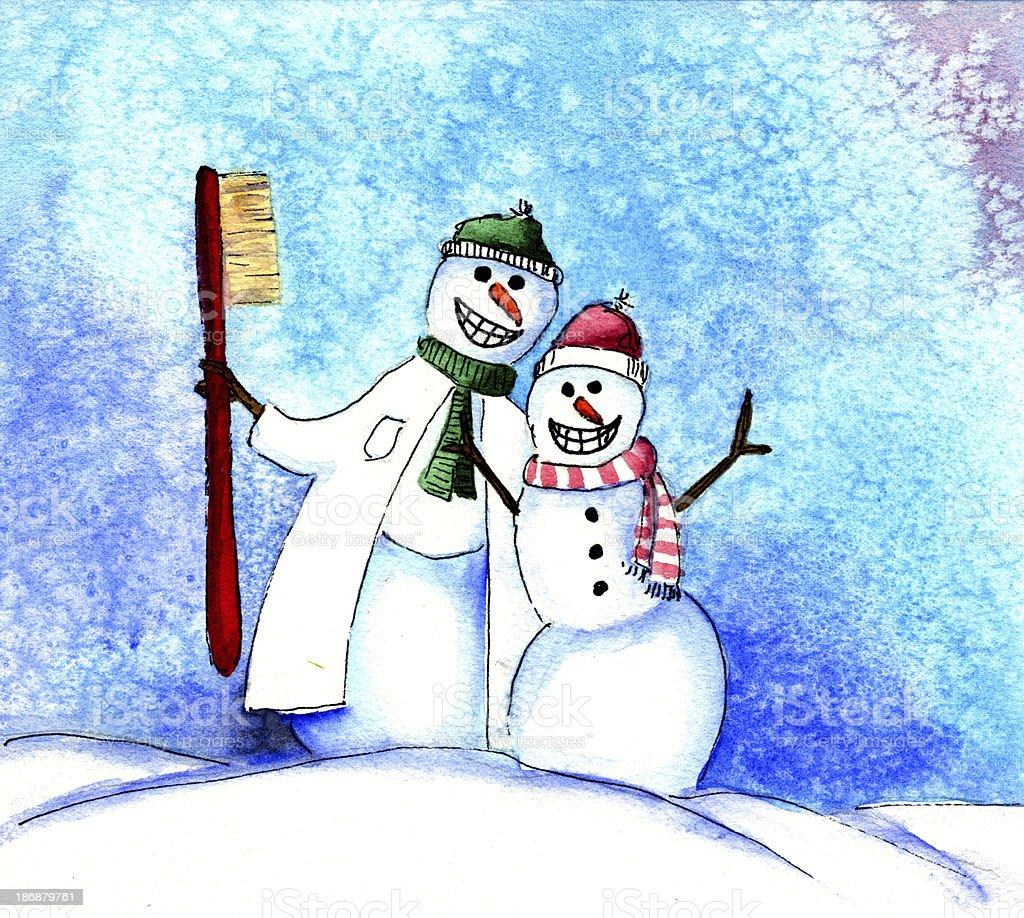 Dentist Snowman vector art illustration