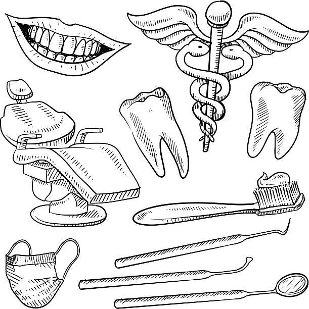 bildbanksillustrationer, clip art samt tecknat material och ikoner med dentist's office objects sketch - tandsten