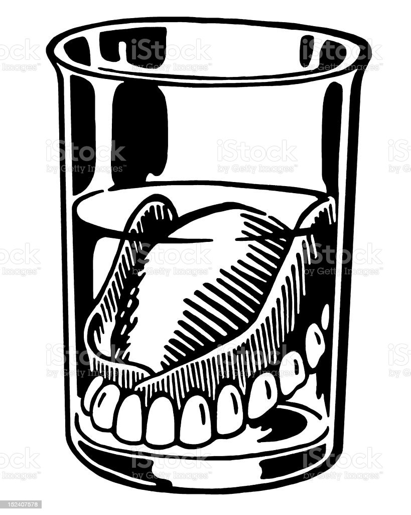 Dentures in Glass vector art illustration