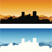 """Detailed skyline of Denver, Colorado in two themes. Elements easily separated and manipulated."""