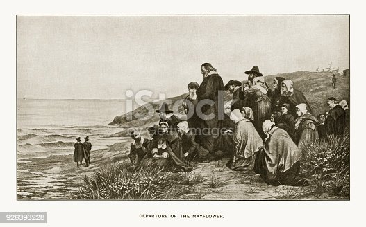 Rare and beautifully executed Engraved illustration of Departure of the Mayflower Engraving from Great Men and Famous Women: A Series of Pen and Pencil Sketches, by Charles F. Horne and Published in 1894. Copyright has expired on this artwork. Digitally restored.