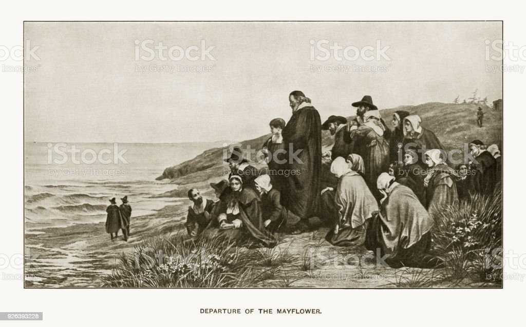 Departure of the Mayflower Engraving vector art illustration