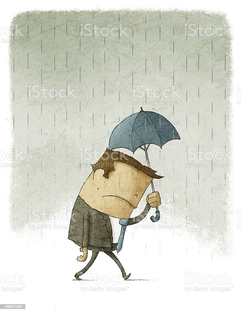 Depressed Businessman walking under umbrella vector art illustration