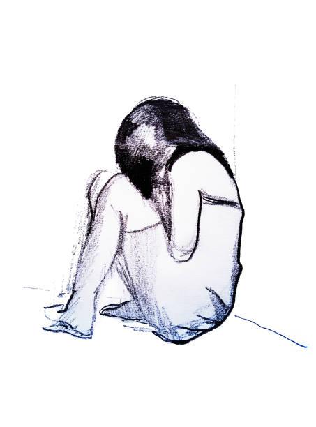 illustrazioni stock, clip art, cartoni animati e icone di tendenza di depressed girl in corner, hand drawing illustration isolated on white background - donna si nasconde