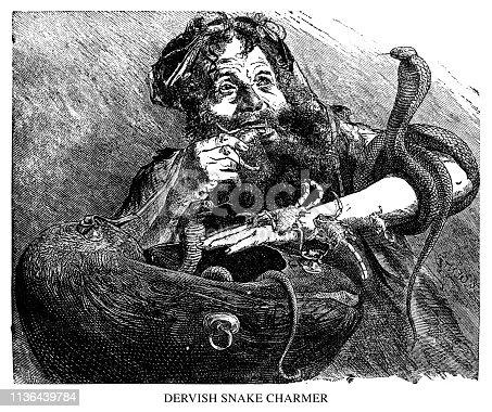 Dervish Snake Charmer - Scanned 1890 Engraving