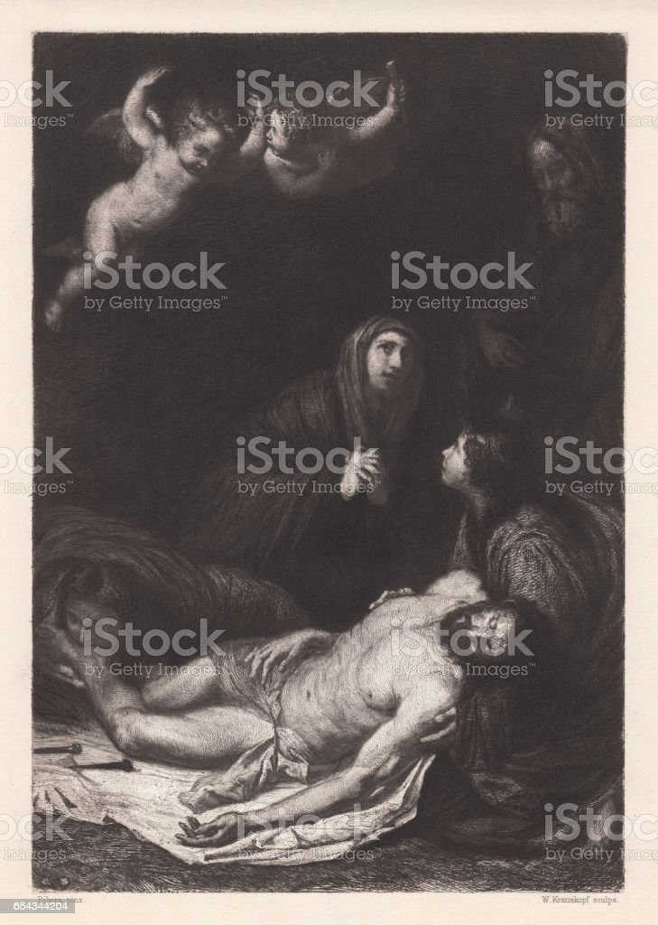 Descent from the Cross, painted by Ribera, Naples, published 1884 vector art illustration