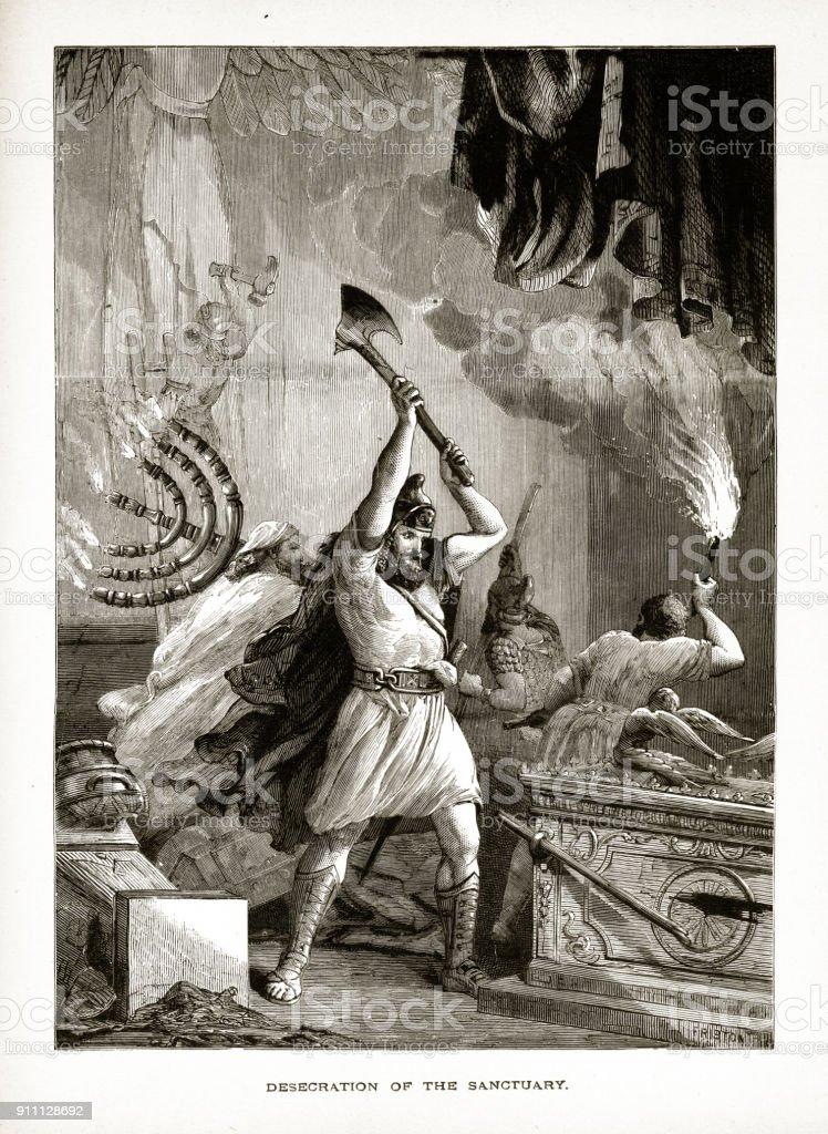 Desecration of the Sanctuary Biblical Engraving vector art illustration