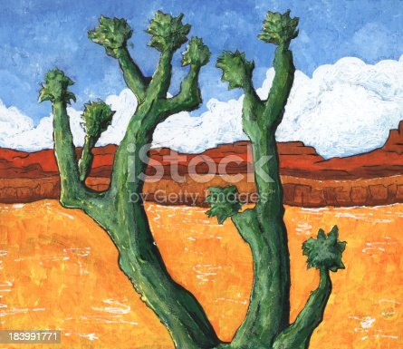Cactus on a desert landscape. Acrylic Painting.