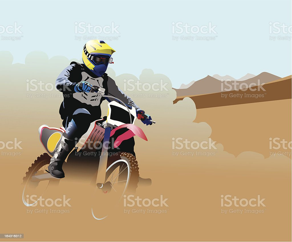 Desert Dirt Bike Racer vector art illustration