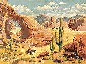 Desert Landscape With Cowboy