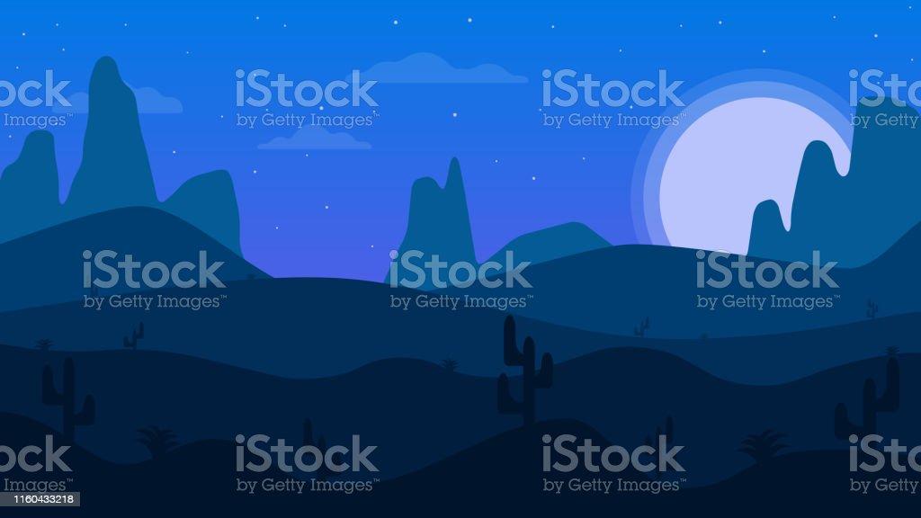 Desert mountains. Cartoon desert landscape with cactus. Night in the...